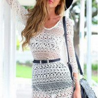 Retro Lace Crochet Beach Dress With Tassel