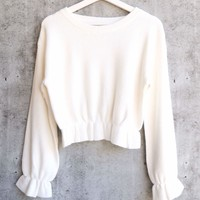 MINKPINK - Maddie Frilly Hem Knit Cropped Sweater - Cream