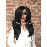 "Dark Brown 16"" Human Hair Blend Multi Parting Lace Front Wig"