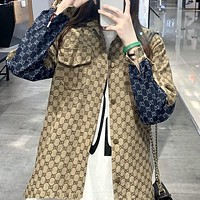 GUCCI Full printed letter couple wild denim shirt jacket