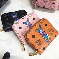 MCM fashion ladies printed letters cartoon zipper small wallet