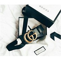 GUCCI Belt Woman Men Fashion Smooth Buckle Belt Leather Belt WITH Gift Box Black