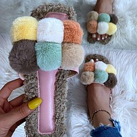 New sexy ladies shoes, warm casual furry slippers, flat sandals