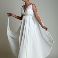 Greek Style Wedding Dresses with Sweep Train 2017 V-neck Long Chiffon Grecian Beach Maternity Wedding Gowns Grecian Bridal