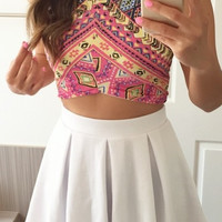 Pleated Essential Flared Skirt - White
