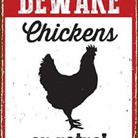 Magnet & Steel Beware Chickens on Patrol Tin Sign