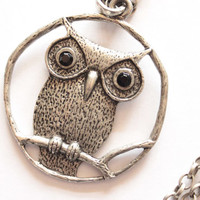 Owl metal necklace for woman. Metal necklace for her.