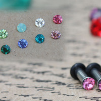 Tiny swarovski crystal stainless steel plugs / tunnels for gauges / stretched ears Sizes: 14g,12g, 10g, 8g