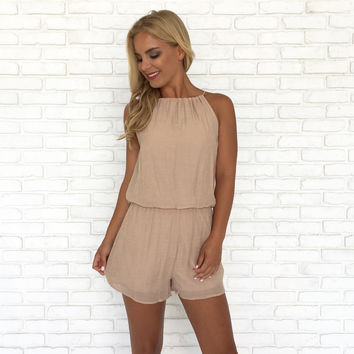 Living The Life Romper In Almond