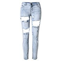 Ripped Zipper Ankle Jeans