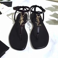 YSL Classic Trending Women Stylish Black Flip Flops Flat Shoes Sandals I-ALS-XZ