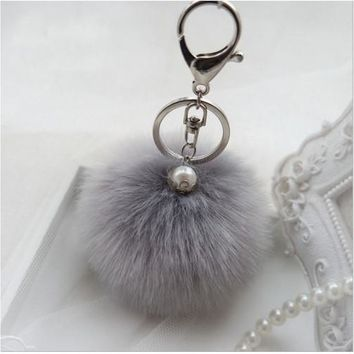 BEADY FUR POM BALLS KEYCHAIN or BAG CHARM - GRAY