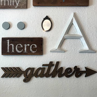 Gather sign gather arrow sign wall collage wood gather sign boho decor wedding sign wedding decor rustic decor wall hanging sign cutout word