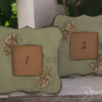 Set of 10 - table number holders (frames only) / frames / distressed frames / shabby chic weddings / wedding decor
