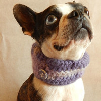 Purple dog Cowl scarf  hand crocheted neck warmer with vintage buttons  Boston Terrier