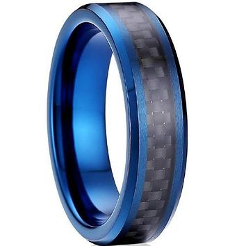 Black Engagement Rings Blue Tungsten Carbide Ring With Black Carbon Fiber