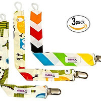 Pacifier Clip - 3 Pack, Best Unisex Pacifier Holder Set for Girls and Boys. These Binky Clips Secure Soothies, Teething Ring Toys Baby Blankets and More. This Fun Soothie Holder is also Great as a Baby Shower Gift.