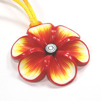 Summer flower pendant, polymer clay flower, Millefiori flower in rich warm colors: red orange and yellow, gift for girls and women