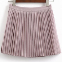 Women's Pleated High Waist A-line Mini Skirt