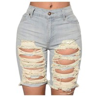 Woman's Europe Style Half Ripped Jeans New High Waist Personality Fashion Street Hole Stretch Slim Torn Woman Denim Shorts
