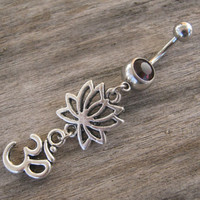 Om Lotus Belly Ring, Lotus Flower Belly Button Ring, Buddhist Om Belly Piercing, Yoga Inspired, Buddhist Body Jewelry