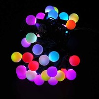 LEDwholesalers LED Color-Changing Linkable 16 Feet Christmas Light String with 50 RGB Globes, Green Wire, X070RGB