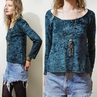 90s Vintage CRUSHED VELVET Top Long sleeve tshirt GREEN vtg Slouchy Goth Witch Grunge xs s m