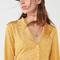 UO Bonnie Silky Button-Down Shirt   Urban Outfitters