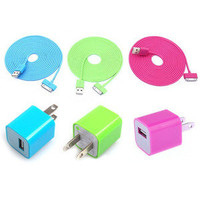 Bestgoods — Total 6pcs/lot!USB Data Charging Cable Cord USB Power Adapter Wall Charger For Iphone 4/4s/5