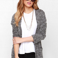 Obey Shelter Heather Grey Cardigan Sweater