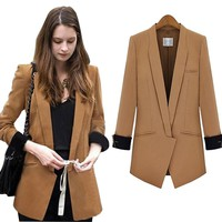 Spring Autumn Patchwork Long Blazer