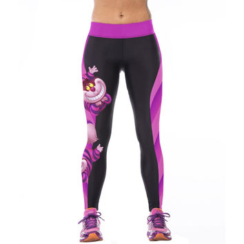Women Alice in Wonderland Cheshire cat 3D Prints High Waist Workout FREE SHIPPING