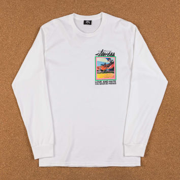 Stussy Love And Hate Long Sleeve T-Shirt - White