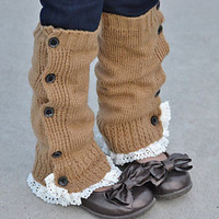 Children's Knitted Leg Warmers with Buttons