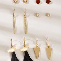 Tassel & Triangle Design Earrings 6pairs