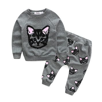 Girls clothing Sets Cat style baby girl tracksuit sets cotton girl suit set sweatshirts coats+trousers