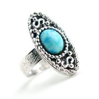 Vintage Faux Turquoise Ring - Retro Signed Sarah Cov 1970s Silver Tone Adjustable Costume Jewelry / Oblong Oval Blue Statement