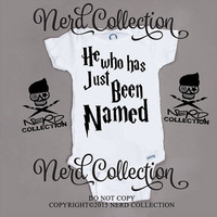 Baby Onesuit Harry Potter He Who Has Just Been Named Hogwarts Baby Boy Shower Gift Nursery Funny Humerious Custom Clothing Infant Gerber