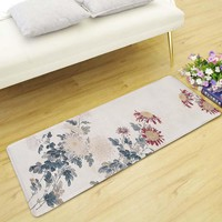 Autumn Fall welcome door mat doormat Honlaker Vintage Chinese Style Long Mat Living Room Decoration Floor Mat Non-slip Absorbent Kitchen Mat Bedroom Bedside Mat AT_76_7