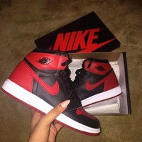 Nike Air Jordan Retro 1 High Tops Contrast Sports shoes Black red F-CSXY