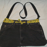 Recycled Black Jean Purse W/ Sunflower Fabric