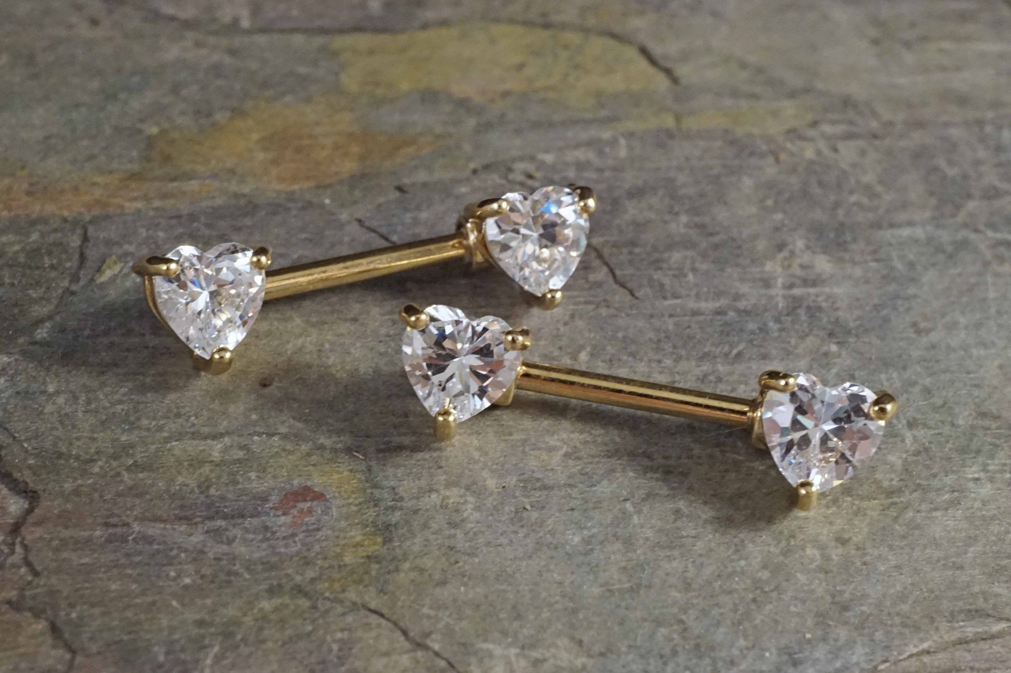Image of Crystal Heart Gold Nipple Bar Jewelry Barbell