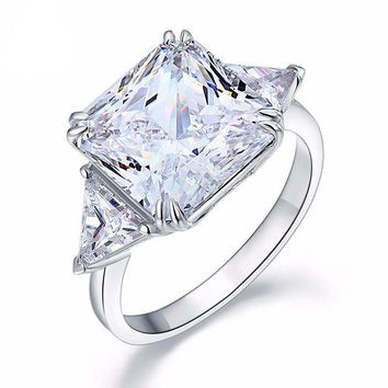 Fancy Fire 8CT Princess Cut Three Stone Sterling Silver Cocktail Ring for Women