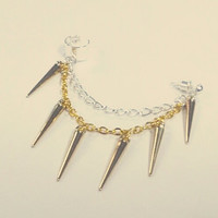 Gold Spikes With Gold & Silvr Chain Cuff Or Cartilage Earring