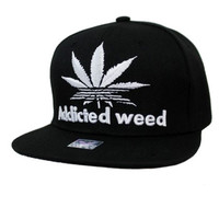 * Addicted Weed Design Solid Black Snap Back In White
