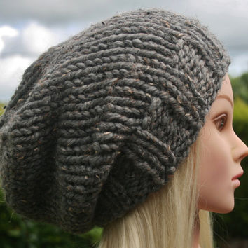 Hand Knit Hat Women's hat- Slate Grey tweed- Rustic Mega Chunky with wool- slouchy beanie hat- winter hat- women's accessories