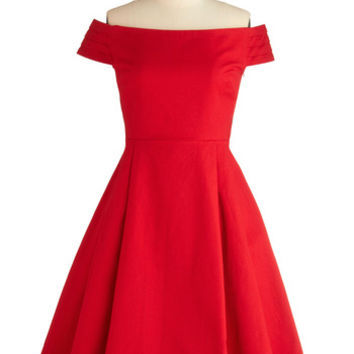 Emily and Fin 50s Long Strapless Off the Shoulder Kettle Corn Dress in Sunset