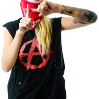 Christian Benner Anarchy Sleeveless Tee Faded Black