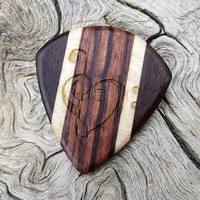 Handmade Multi-Wood Premium Guitar Pick - Jazz Stubby - Actual Pick Shown - Engraved Both Sides - Artisan Guitar Pick