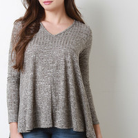 Marled Paneled Rib Knit Top